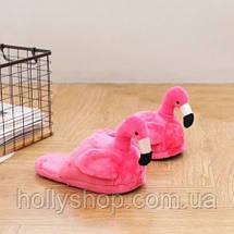 """Домашние плюшевые тапочки """"Фламинго"""" без задника малиновые, фото 3"""