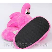 """Домашние плюшевые тапочки """"Фламинго"""" без задника малиновые, фото 2"""