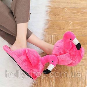 """Домашние плюшевые тапочки """"Фламинго"""" без задника малиновые"""