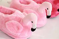 """Домашние плюшевые тапочки """"Фламинго""""с задником розовые"""