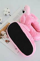 """Домашние плюшевые тапочки """"Фламинго""""с задником розовые, фото 3"""