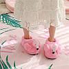 """Домашние плюшевые тапочки """"Фламинго""""с задником розовые, фото 2"""