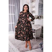 Женское батальное расклешенное платье с цветочным принтом длина миди