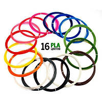 PLA(ПЛА) 16 цв.(160 метров) набор пластик нить, стержень, для 3d ручки