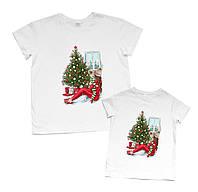 """Парные футболки для мамы и дочки с тематическим принтом """"новогодняя сказка"""" Family look"""