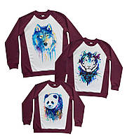 "Свитшоты family look с красочными яркими принтами ""волк, тигрица и панда"" Family look"