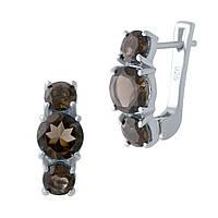 Серебряные серьги  с натуральным раухтопазом , фото 1
