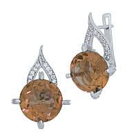 Серебряные серьги  с Султанит султанитом , фото 1