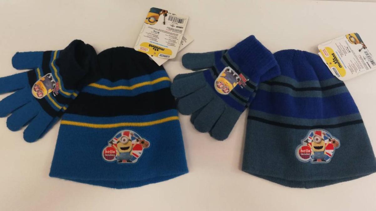 {есть:Один размер} Шапка+перчатки для мальчиков Minion. [Один размер]