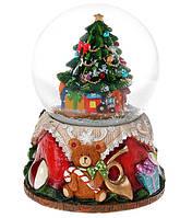 """Новогодний снежный шар  """"Нарядная Елка"""" водяной шар с летящим снегом и музыкой на батарейках"""