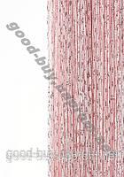 Шторы - нити однотонные с серебром Дождик РОЗОВЫЙ