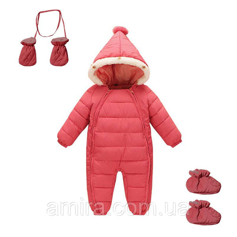 Комбинезон зимний для девочки 3 в 1 New Year, розовый Berni