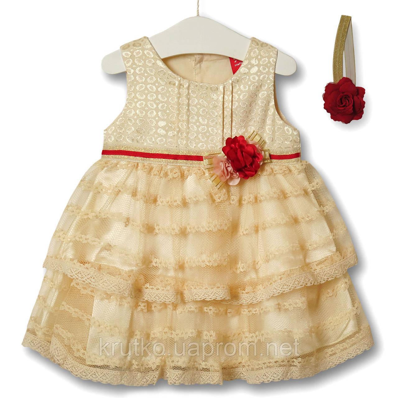 Платье для девочки Цветочная нота, бежевый Zoe Flower