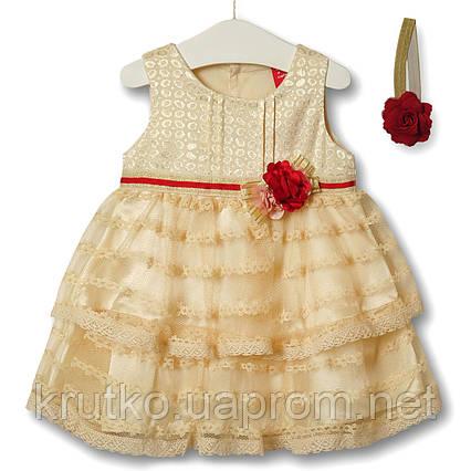 Платье для девочки Цветочная нота, бежевый Zoe Flower, фото 2