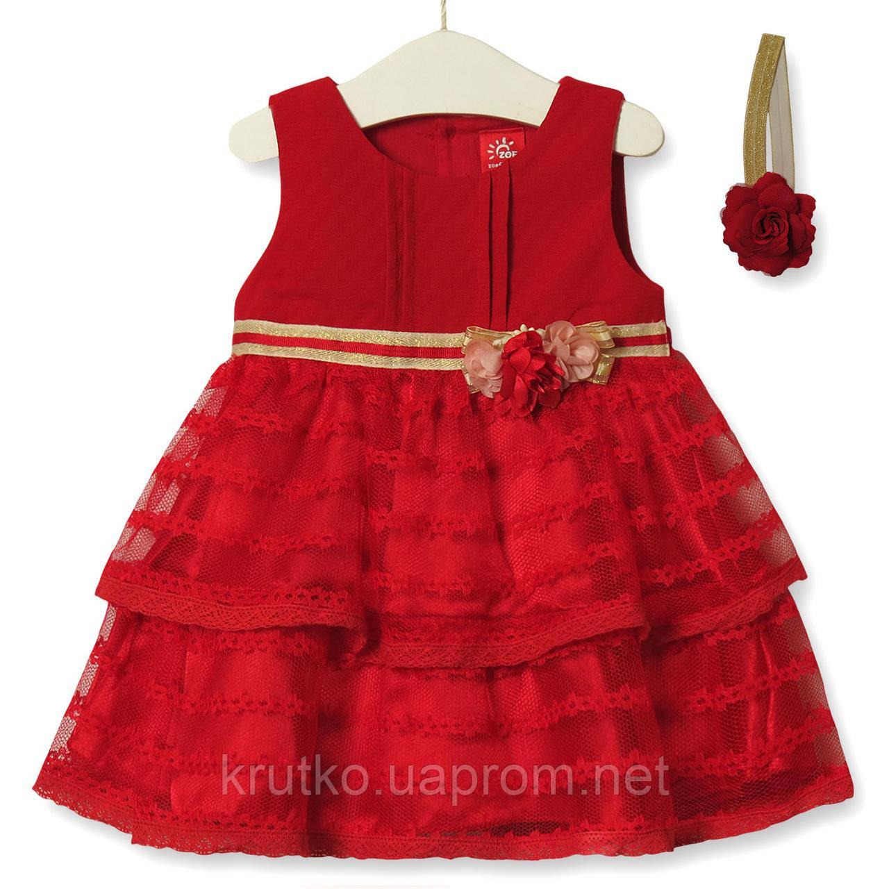 Платье для девочки Цветочная нота, красный Zoe Flower