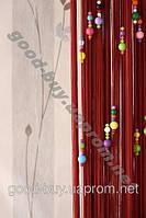 Шторы - нити однотонные c цветным жемчугом m-018