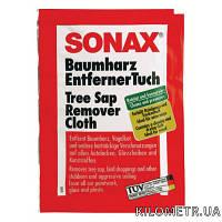 Очиститель древесной смолы  SONAX (к-т две салфетки сухая + мокрая ) 5 г (390000)