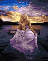 """Картина по номерам. Brushme """"Девушка в сиреневом платье"""" GX21738"""