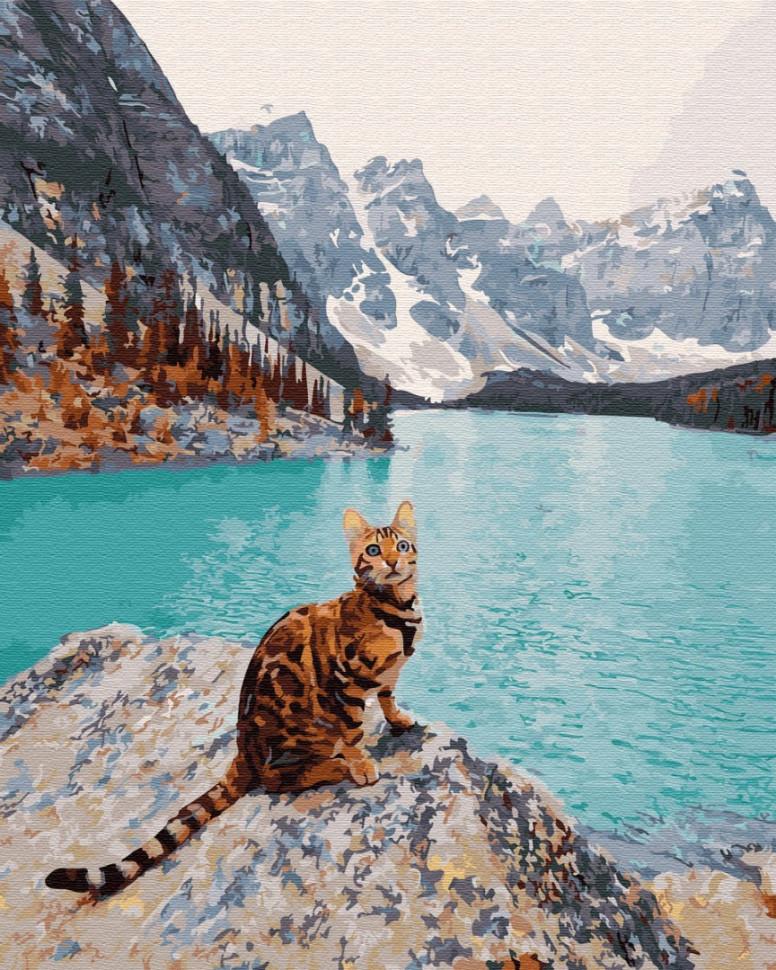 """Картина по номерам. Brushme """"Кот на озере Морейн"""" GX32308"""