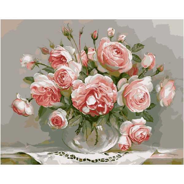 """Картина по номерам. Brushme """"Розы на столике"""" G436"""