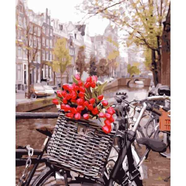 """Картина по номерам. Brushme """"Доставка тюльпанов в Амстердаме"""" GX29265"""