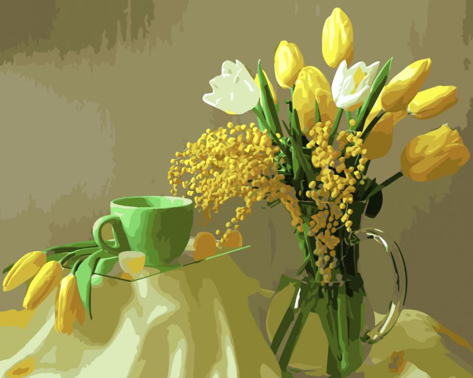 """Картина по номерам. Brushme """"Желтые тюльпаны"""" GX9245"""