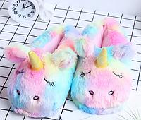 Тапочки-игрушки Единороги радужные. размер 35-38
