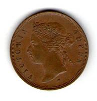 Стрейт Сетлментс 1 цент 1872 год Виктория