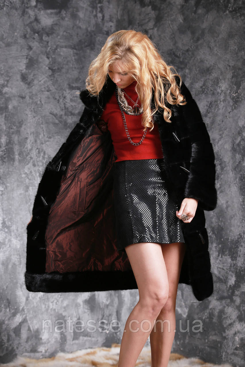 Шуба из черной норки двухсторонняя Real mink fur coats jackets