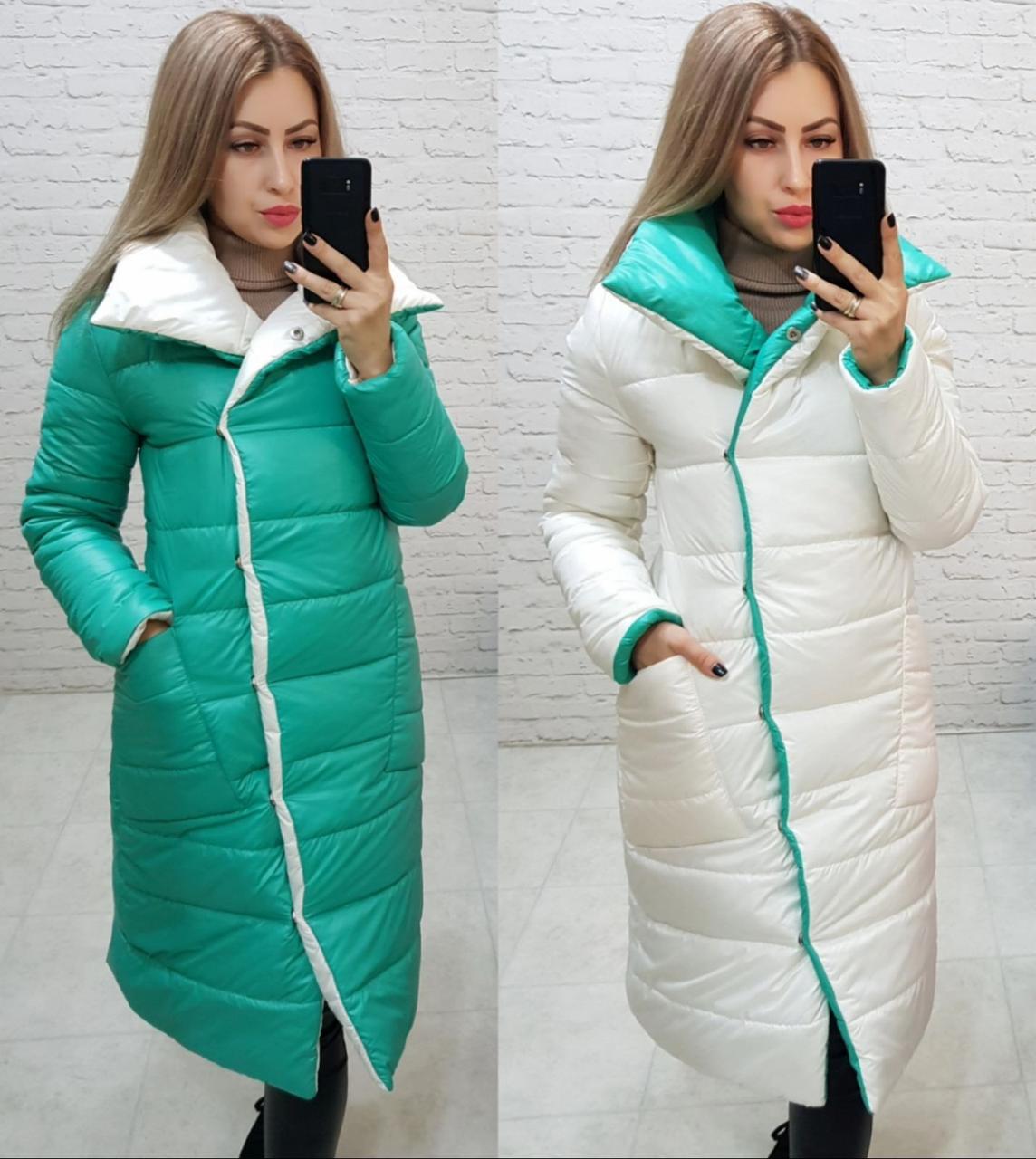 Wow!!! Двухсторонняя куртка одеяло, арт 1006, цвет топлёное молоко + мята