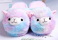 Тапочки-игрушки Ламы радужные, размер 35-38