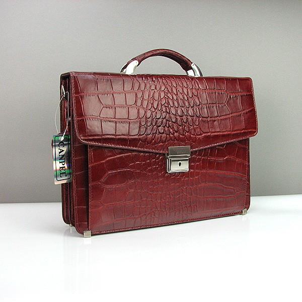 Портфель классический кожаный мужской бордовый Canpellini 2026-14