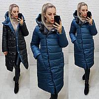 Wow!!! Двухсторонняя куртка еврозима с капюшоном, арт 1007,цвет синий + чёрный, фото 1