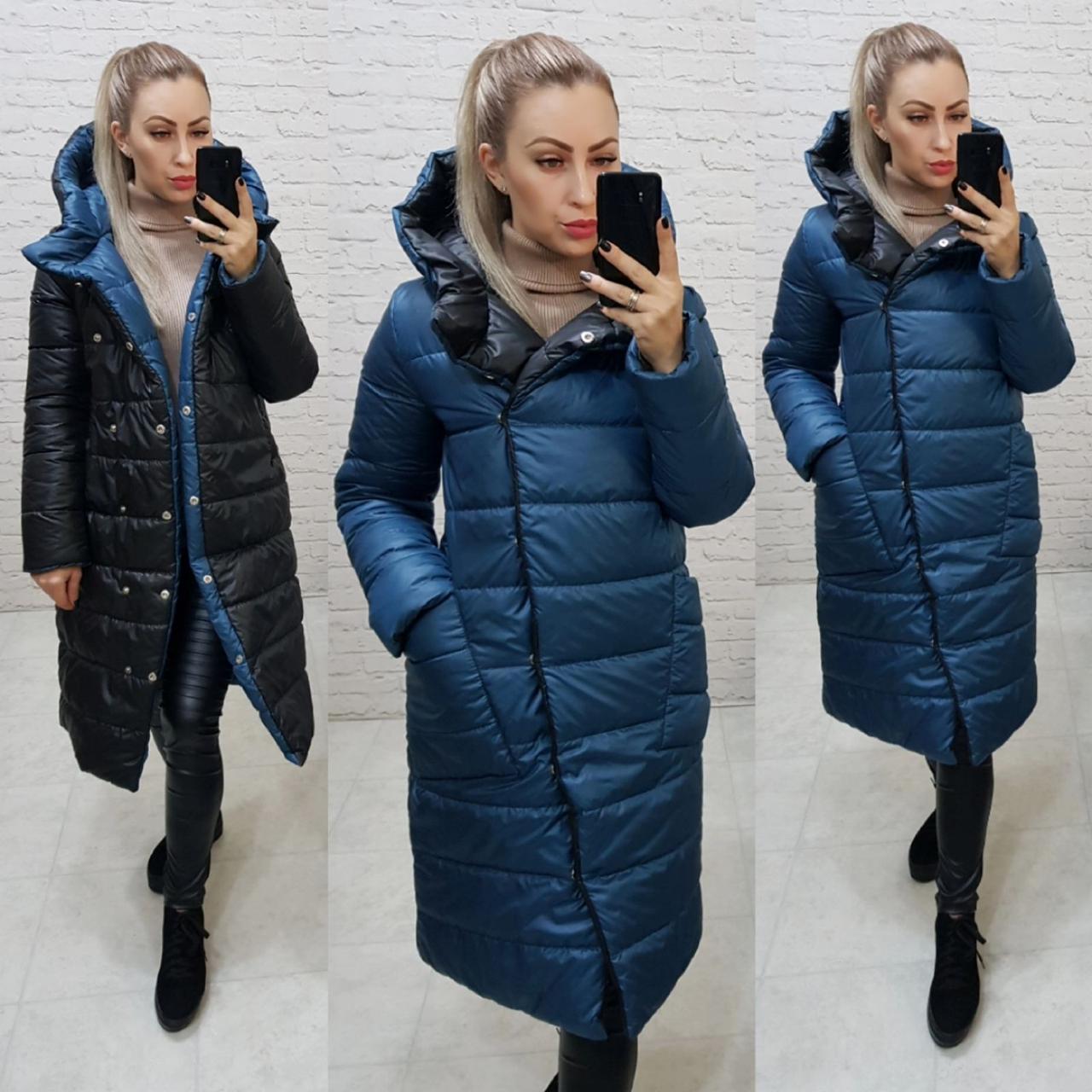 Wow!!! Двухсторонняя куртка еврозима с капюшоном, арт 1007,цвет синий + чёрный