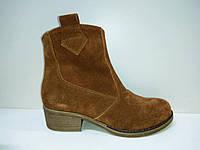 Ботинки, казаки женские , размер 36, 37, 38, 39, 40, 41, 42, натуральная замша, цвет рыжий, каблук 3 см.