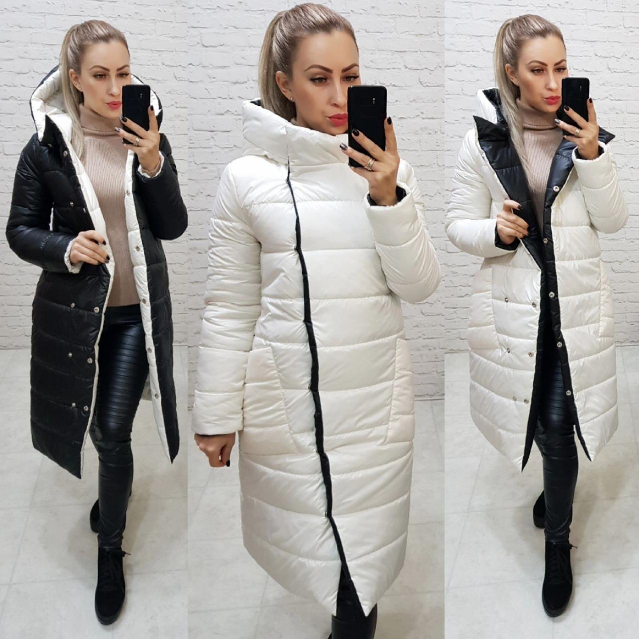 Wow!!! Двухсторонняя куртка еврозима с капюшоном, арт 1007,цвет чёрный + белый