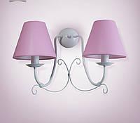 Бра, настенный светильник 2 ламповый с абажуром