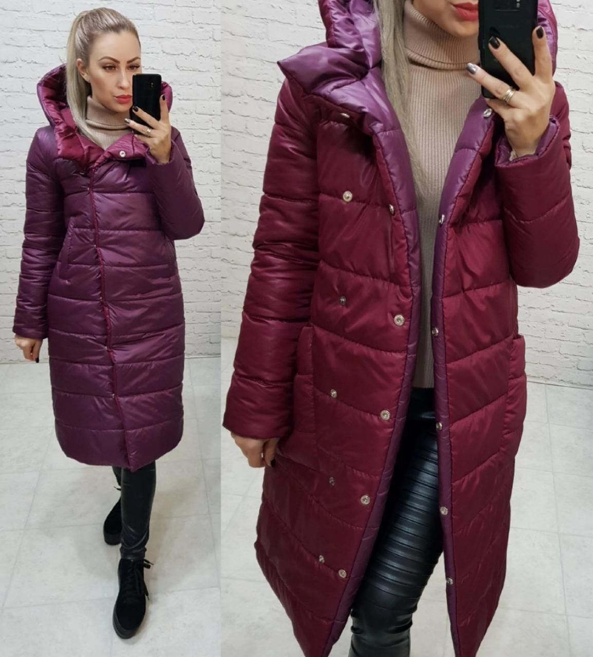 Wow!!! Двостороння куртка еврозима з капюшоном, арт 1007,колір марсала + бордовий