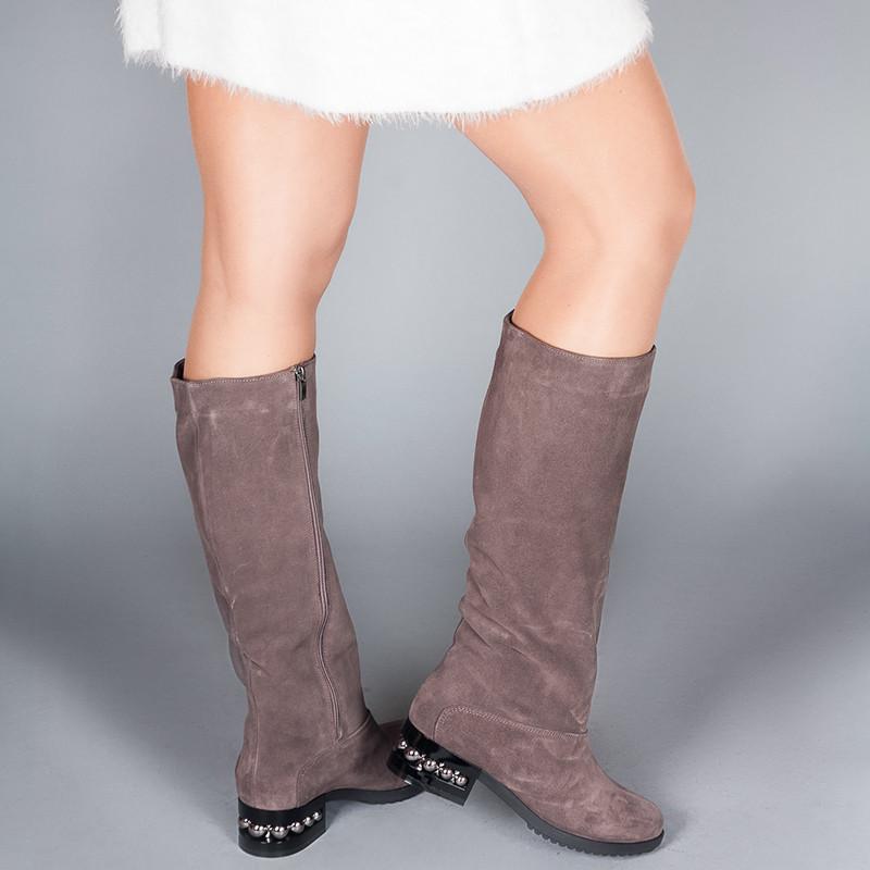 Сапоги женские замшевы на маленьком каблуке. Цвет кожи/замши на выбор.