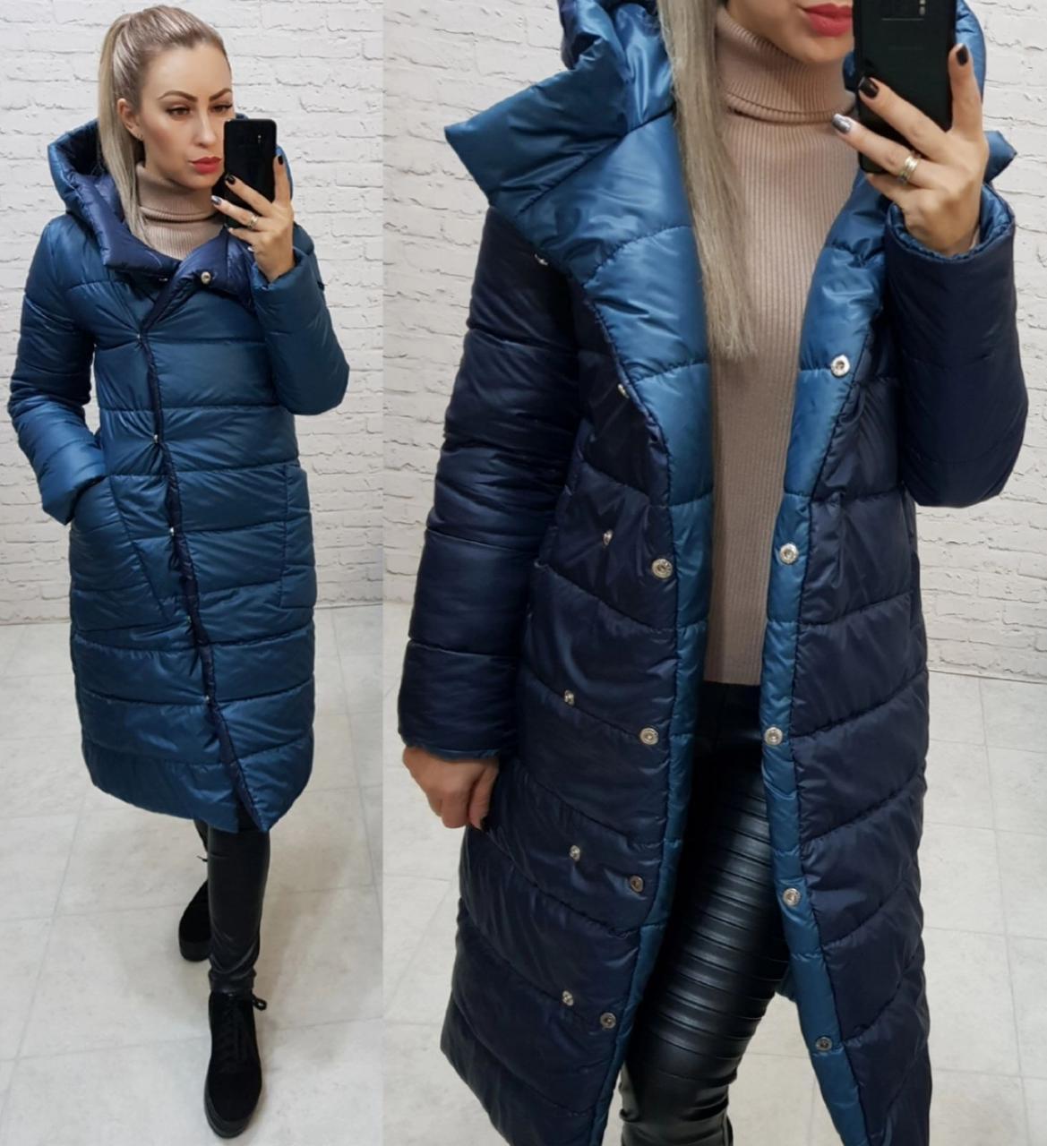 Wow!!! Двостороння куртка еврозима з капюшоном, арт 1007,колір синій джинс + темно синій