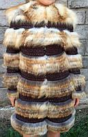 Пальто на вязке с мехом полярной лисицы., фото 1
