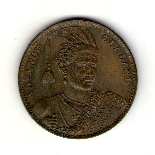 Новая Зеландия 1 пенни 1850-1890 Краузе КМ Тn-49 токен UNS РЕДКАЯ