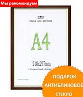 Фоторамка пластик цвет темное дерево 21*30(А4). Рамка для диплома. 151-В25.