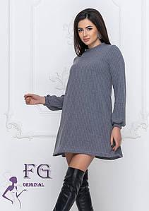 Теплое платье трапеция ангора-рубчик Серый, 46-48