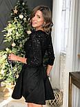 Женское платье с пайетками и замшевой юбкой-солнце (в расцветках), фото 4