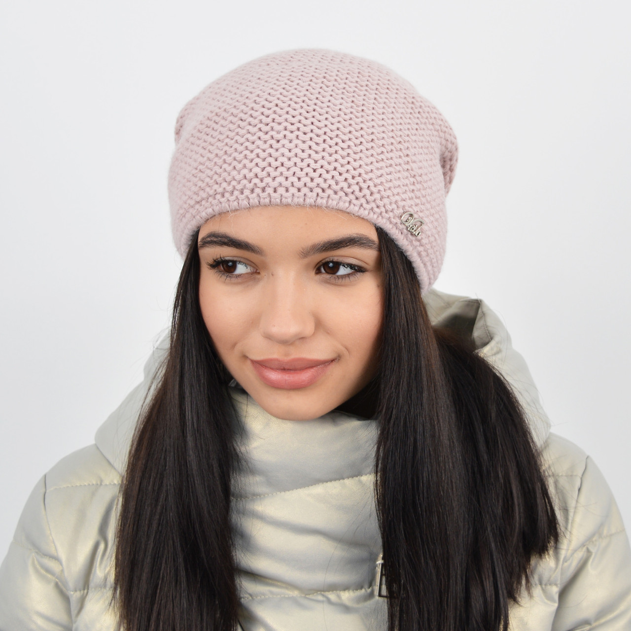 "Женская шапка ""Цепочка"" пудра"
