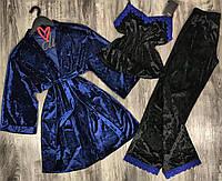 Велюровый халат и пижама с штанами-комплект тройка.