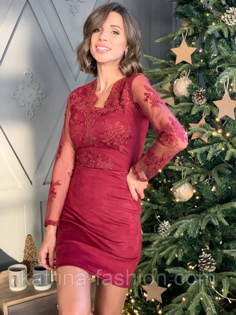 Женское платье замшевое с кружевом (в расцветках)