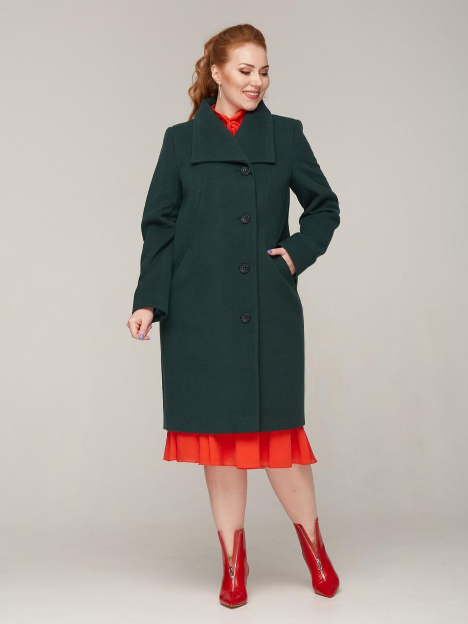 Женское демисезонное пальто на пуговицах больших размеров 52-64