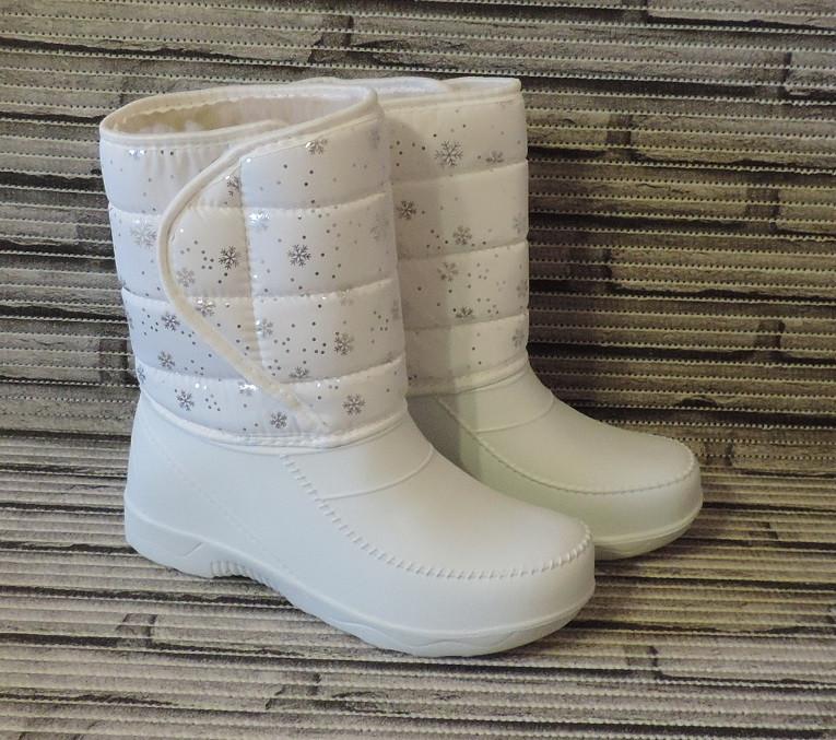 Сапоги женские зимние.Белые дутики (сноубутсы) на меху.